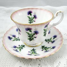 Royal Albert Pink Tea Cup and Saucer with Thistles, Vintage Bone China