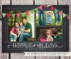 Chalkboard Christmas Card with Bunting printable holiday card xmas photo card