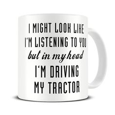 Farmer Gifts - Farmer Mug - In My Head I'm Driving My Tractor Mug - Gift for Farmer - Farming Gift - MG579