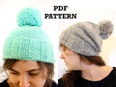 Pompom Toque Easy Knitting Pattern by Westlake by westlakedesigns