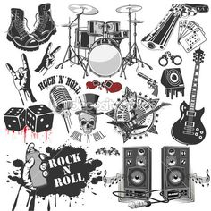 set of vector symbols related to rock and roll - stock vector Rock Tattoo, Rock And Roll Tattoo, Tatouage Rock And Roll, Metal Tattoo, Festa Rock Roll, Rock N Roll, Classic Nursery Rhymes, Nursery Rhymes Songs, Easy Guitar
