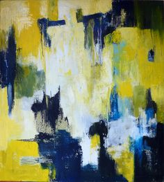 yellowgraywhiteandnavyblueabstractpaintings - Google Search