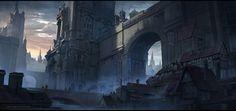 ArtStation - Dark Ages of Anstard _ Alexander Dudar Fantasy City, New Fantasy, Fantasy Places, Fantasy Rpg, Fantasy Art Landscapes, Fantasy Landscape, Environment Concept Art, Environment Design, Medieval Art