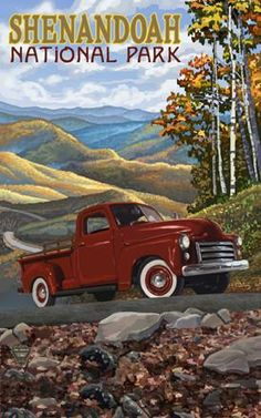 Vintage Trucks Classic BRT Maine Big Red Truck - A scenic pickup truck ride through the mountains of Vermont in the fall is the perfect way to spend the day. Poster Vintage, Vintage Travel Posters, Vintage Ads, Vintage Signs, Shenandoah National Park, Smoky Mountain National Park, National Park Posters, National Parks, Maine Road Trip