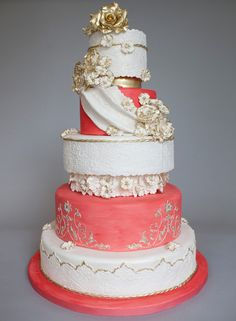 Gold and coral renaissance-inspired cake