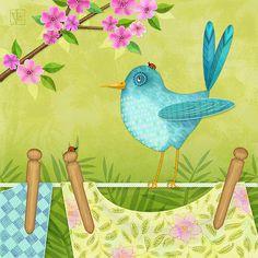 Bird On Clothesline Digital Art