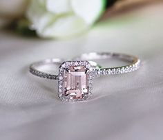 Voguegem 2pcs 14ct Gold Wedding Ring set with Fancy Pink Morganite gemstone (Emeral Cut)and H/SI Diamonds Pave