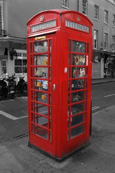 Classic British red phone booth in London - Stock Photo , London England Travel, London Travel, Uk Photos, Stock Photos, Manchester, London Telephone Booth, Black And White Background, Museum, Jaco