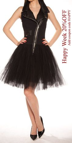 Black Dress/ Black Tulle Skirt/ Tutu Skirt/Leather by FloAtelier, $210.00