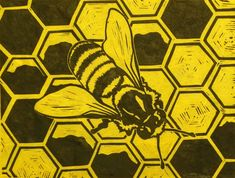 Honey Bee Original Block Print Linocut Signed Limited Edition by Katherine Grey Idaho, Bee Images, I Love Bees, The Artist, Bee Cards, Bee Theme, Bee Happy, Bees Knees, Linocut Prints
