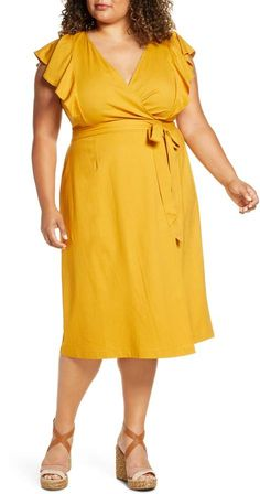 Plus Size Yellow Dress | ELOQUII Flutter Sleeve Wrap Dress