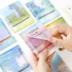Monet Impression Hand Painting Oil Painting Notes Index Flag Sticky Notes Paper Stickers Memo Pad Bookmark Marker TRD