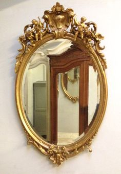 IMW4199 Antique French Oval Mirror