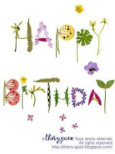 Happy Birthday Herbarium Botanical Flower от thevysherbarium