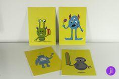"4er Set Postkarten ""Monster & Roboter"" von Jessica Lorenz Design auf DaWanda.com"