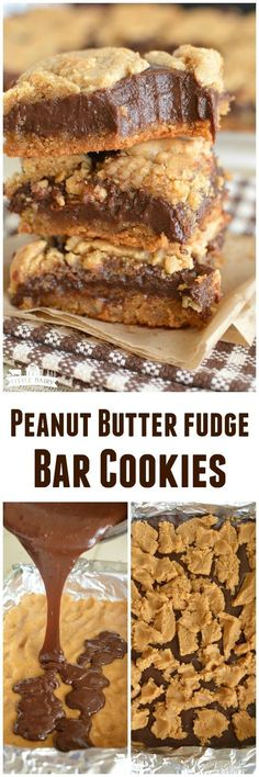 Peanut Butter Fudge Cookie Bars only take a handful of ingredients and about 5 minutes to prepare! Everyone asks for this recipe #cookiebarrecipeseasy #cookiebarrecipeshands