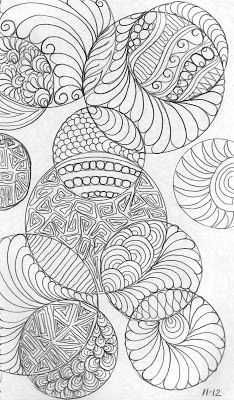 """LuAnn Kessi: Sketch Book.....Just for FUN - """"I traced circles...then filled them in. A different design in each shape. This would be FUN on a whole cloth quilt."""""""