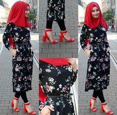 Tunic – www. Modest Fashion Hijab, Street Hijab Fashion, Fashion Outfits, Islamic Fashion, Muslim Fashion, Hijab Fashionista, Vetement Fashion, Hijab Fashion Inspiration, Muslim Dress