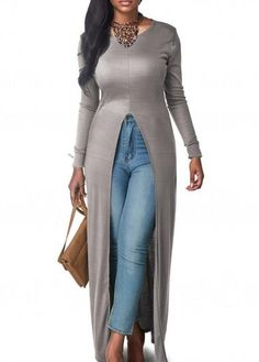 AdoreWe - unsigned Long Sleeve Front Slit Grey Blouse - AdoreWe.com