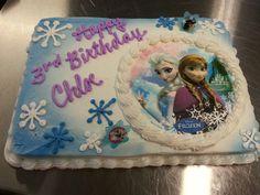 Frozen birthday cake, 1/4 sheet, with decorative rings. Molly's Gluten Free Bakery