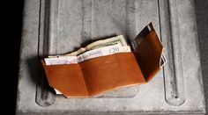 One piece of leather making thin wallet for banknotes and credit cards.