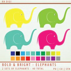 Elephant Clip Art - 40 Pieces - Bold and Bright  ClipArt Scrapbooking Commercial  Instant Download & Printable G7294