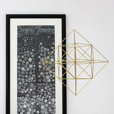 Brass Himmeli Diamond / Hanging Mobile / Geometric by HRUSKAA