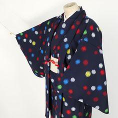 Polkadods ensamble kimono / 水玉柄がポップで若々しい単衣のアンサンブル   #Kimono #Japan http://global.rakuten.com/en/store/aiyama/