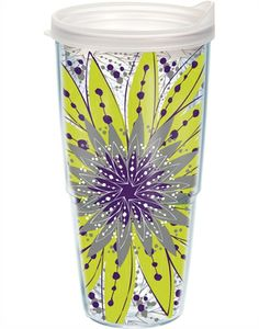 Tervis Tumbler - got this as a Christmas gift.  24 oz., for hot or cold beverages, dishwasher safe, lifetime guarantee, AND made in the USA. Love it!