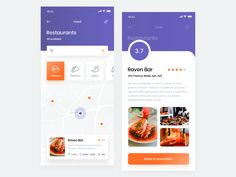 Restaurant Finder App - Map & AR designed by Adam Sokołowski. Connect with them on Dribbble; the global community for designers and creative professionals. Restaurant Finder, Restaurant App, Mobile Ui Design, App Ui Design, Web Design, App Map, Android Ui, Ui Elements, Ui Inspiration