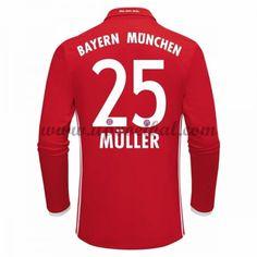 Bayern Munich 2016-17 Muller 25 Lange Mouw Thuis Tenue Goedkope Voetbalshirts Clubs