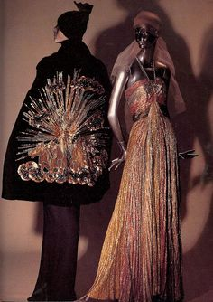 Left: Evening Cape (1938). Description: Black velvet, embroidered with gold metallic sequins, gold bugle beads, gold bullion and amber paste...