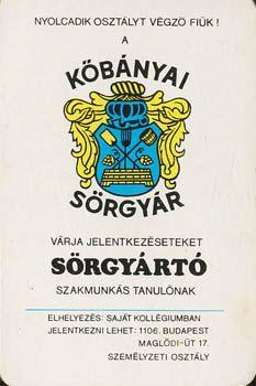 Kőbányai sörgyár kártyanaptár (1978)