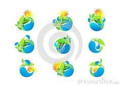 Water drop logo, leaf eco friendly, healthy fresh growth and ecology vector design icon