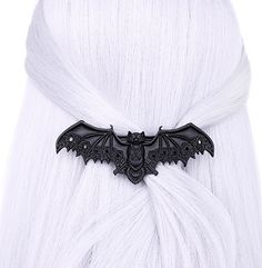"""Black Lace Vampire Bat Barette Hair Clip Occult! Bat shaped hairclip adorned with lace with alchemical symbols. Measurements: width : 4.75"""" inches / 11.5 cm high : 1.25"""" inches / 3 cm"""