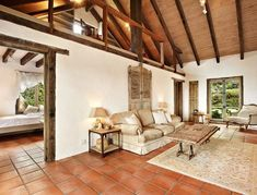Timeless and elegant country style villa Timber Windows, Timber Door, French Provincial Home, Terracotta Floor, Beach House Kitchens, Country Style, Villa, Flooring, Rustic