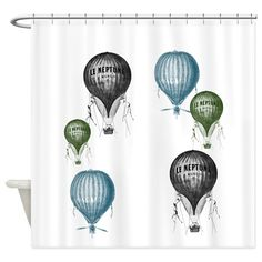 Hot Air Balloons Shower Curtain by ZenandChic - CafePress Hot Air Balloon Paper, Color Combinations, Balloons, Shower, Bathroom, Design, Colour Combinations, Rain Shower Heads, Washroom