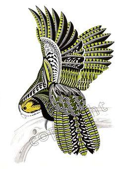 Kakapo (owl parrot) – Kura Gallery: Maori and New Zealand Art + Design. Maori Tattoo Frau, Ta Moko Tattoo, New Zealand Tattoo, New Zealand Art, Doodles Zentangles, Tahiti, Maori Designs, Tattoo Designs, Polynesian Art