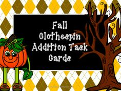 Fall Addition Task Cards: This set of task cards lets the students add numbers for sums up to 10. There are 4 fall designs in both color and B&W. It's easy to print, laminate and go! You can use clothespins, markers, or other items to mark the answers.