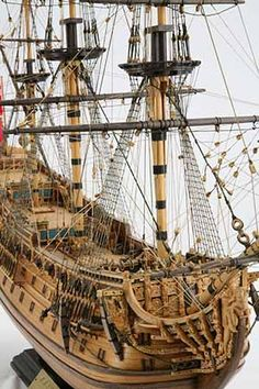 Detail photos of ship model HMS Prince. The ship was launched 1670 in Chatham as an English rate with 100 cannon. Model Sailing Ships, Old Sailing Ships, Model Ship Building, Boat Building, Wooden Model Boats, Scale Model Ships, Pirate Boats, Ship Drawing, Wooden Ship