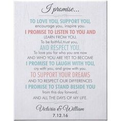 Personalized Promise of Our Love Wedding Canvas, Size: 16 x White Simple Wedding Vows, Best Wedding Vows, Wedding Vows To Husband, Wedding Ceremony Script, Lgbt Wedding, Wedding Quotes, Wedding Humor, Our Wedding, Wedding Ideas For Second Marriage