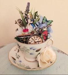 Alice In Wonderland Teacup Decorative Item | Unique Gift | Mothers Day Gift | eBay Alice In Wonderland Bedroom, Alice In Wonderland Tea Party, Diy Alice In Wonderland Crafts, Adventures In Wonderland, Alice Tea Party, Mad Tea Parties, Mad Hatter Tea, Mad Hatter Party, Mad Hatters