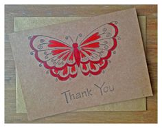 Set of 5 red hand painted thank you cards xx