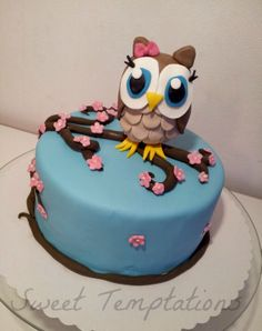 Owl Cake - Birthday cake for a big owl fan ;) Cake is filled with chocolate cake and ganache. Owl is made of fondant. Thx for looking :D
