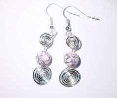 Pink howlite and silver spiral dangle earrings £6.00
