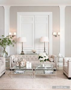 Weiß Wohnzimmer White Living Room Living Room White living room is a design that is very popular today. Design is All White Room, Living Room White, White Rooms, Formal Living Rooms, Home Living Room, Living Room Designs, Living Spaces, Modern Living, Living Room Decor Elegant