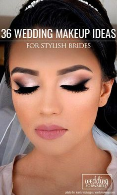 36 Wedding Make Up Ideas For Stylish Brides ❤ We've created collection of wedding makeup. There are ideas for unique make up, elegant, make up that will be appropriate for different eyes' colours. See more: http://www.weddingforward.com/wedding-makeup/ ‎#wedding #bride #weddingmakeup