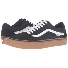 5a1a115960 Vans Old Skool Pro (Black Gum White) Men s Skate Shoes ( 65) ❤ liked on  Polyvore featuring men s fashion
