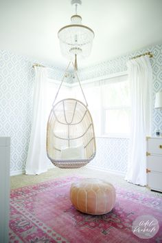 E Design with House of Jade Interiors - House of Jade Interiors Blog - Nursery - Wallpaper - Pink Rug - Swing - Baby Nursery