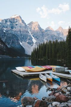 Canoe in the mountains.